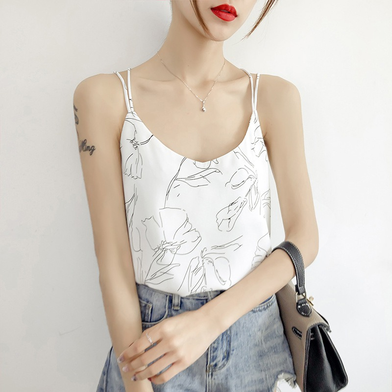 2019 Summer Women Casual Flower Chiffon Print Sexy Chiffon LooseRegular Sleeveless Camisole Breathable Cute Sweet Sling Tops in Camis from Women 39 s Clothing