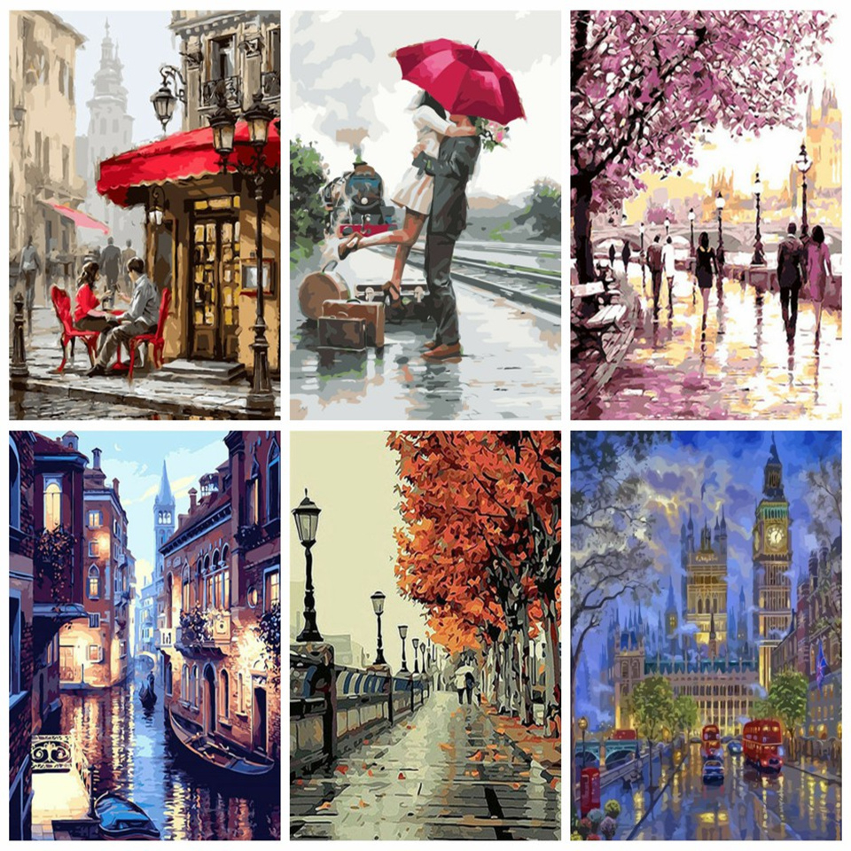 AZQSD Paint By Numbers For Adults Scenery Coloring By Numbers Diy Painting By Numbers 40x50cm Home Decor
