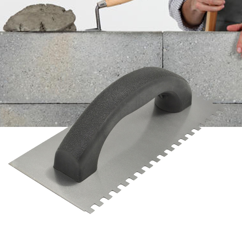 Decoration Square Plastering Home Curved Handle Tiling Tool Professional Sawtooth Steel Portable Wall Trowel Multifunctional