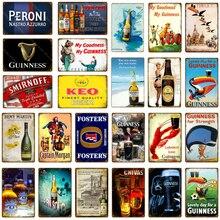 Placa de cerveza de cueva de hombre, carteles de hojalata vintage Bar Pub, placas decorativas, pegatina de pared, cartel de hierro Guinness, placa publicitaria YJ167