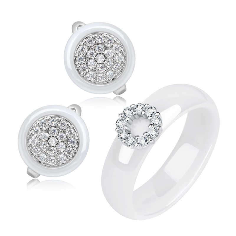 Bling CZ Кристалл Круг геометрический для женщин Ювелирные наборы для женщин никогда не выцветает здоровые керамические серьги кольца на палец обручение подарок