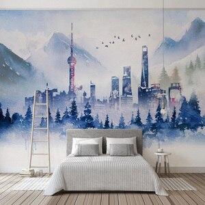 Image 4 - Moderne 3D Tapete Einfache Abstrakte Tinte Gebäude Kunst Persönlichkeit Wohnzimmer Schlafzimmer Hintergrund Wand Papiere Papel De Parede 3 D