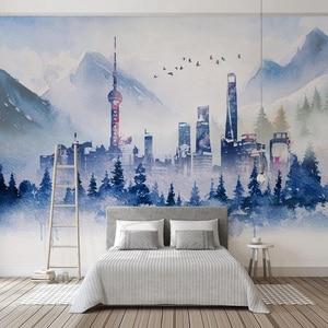 Image 4 - Nowoczesna tapeta 3D prosta abstrakcyjna atramentowa sztuka budynku osobowość salon sypialnia tło ściana papiery Papel De Parede 3 D