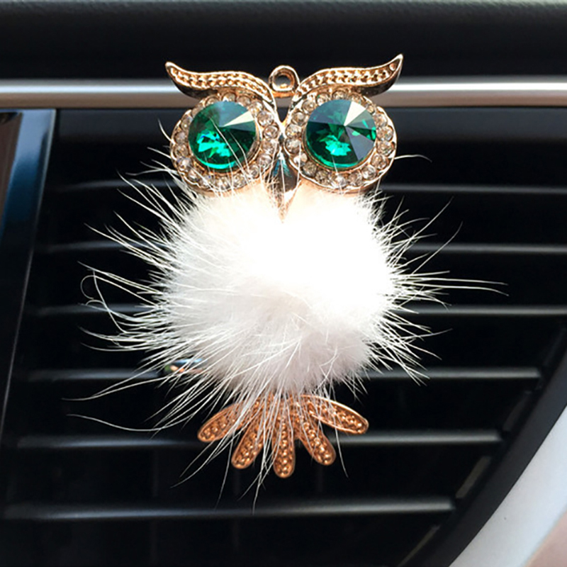 Diamond Fur Owl Car Air Freshener Auto Outlet Perfume Clip Scent Aroma Car Diffuser Bling Car Accessories Interior Decor Gifts
