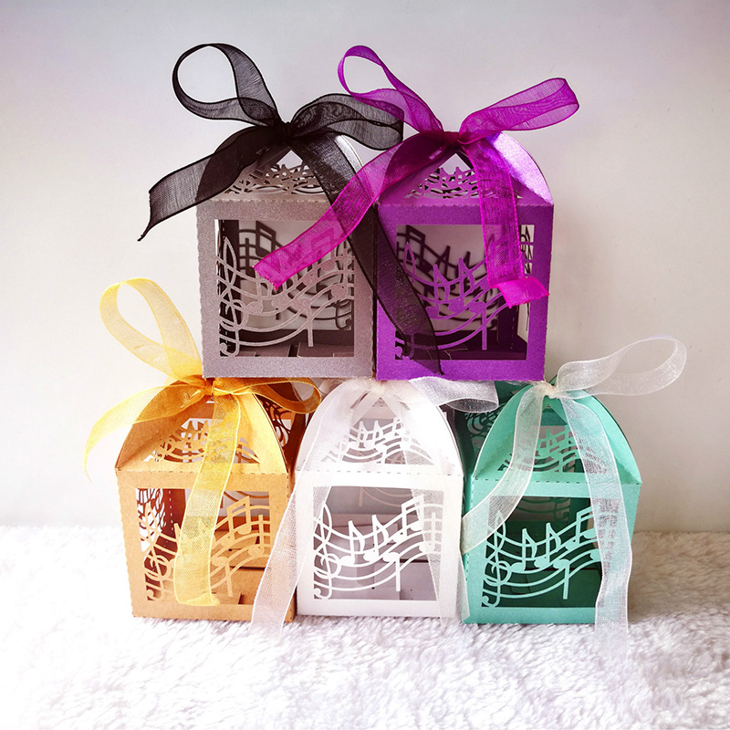 50pcs Musical Notes Candy Boxes Sweets Favor Gift Boxes With Ribbon For Teachers' Day Birthday Easter Wedding Party Decoration