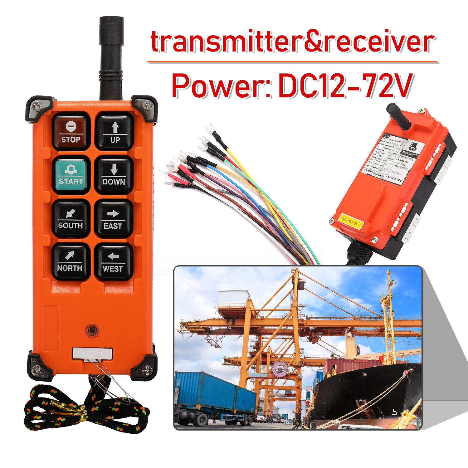 DC12-72V Industrial Remote Controller Switches Hoist Crane Control Lift Crane 1 Transmitter + 1 Receiver F21-E1B