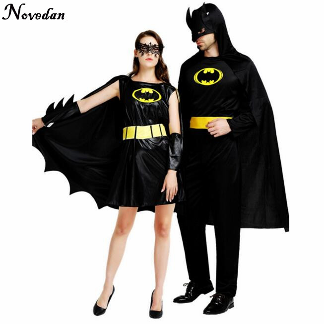 <font><b>Halloween</b></font> <font><b>Costumes</b></font> For <font><b>Men</b></font> Adult Batman Super Heroes <font><b>Sexy</b></font> Women Cosplay Black Dress Carnival <font><b>Costume</b></font> image