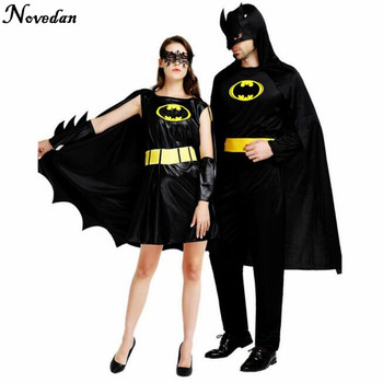Halloween Costumes For Men Adult Batman Super Heroes Sexy Women Cosplay Black Dress Carnival Costume