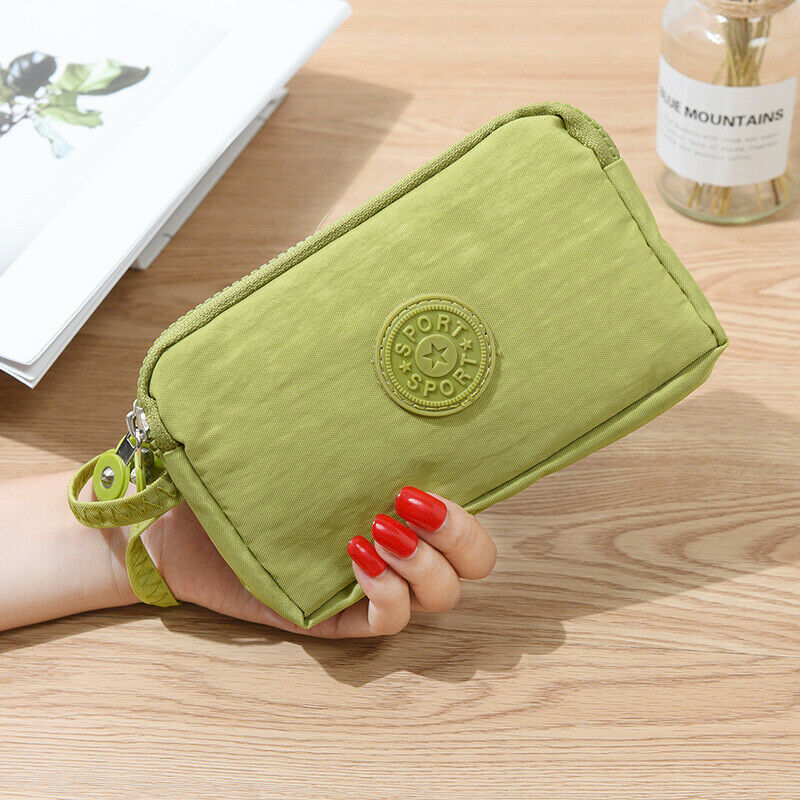 Fashion Womens Organizer Wallet Three-Layer Zipper Purse Coin Purse Casual Solid Simple Lady Wrist Strap Card Wallet