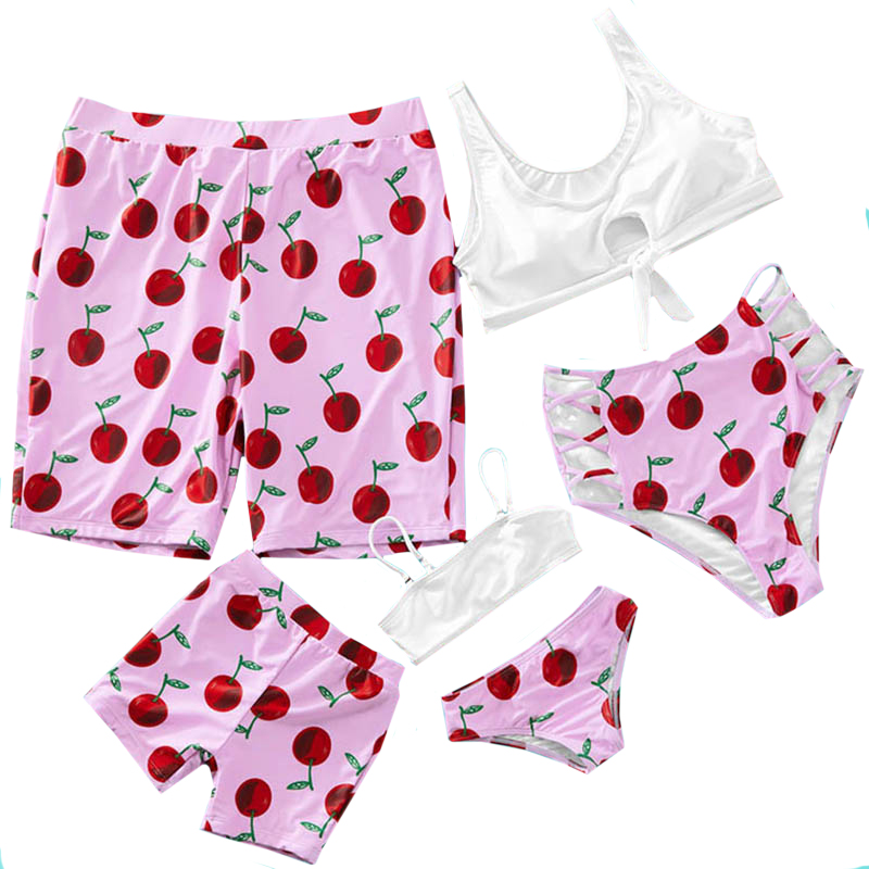 2020 New Mommy And Me Swimsuit Family Look Pink Cheery Print Bow-knot Bikini Set Swimsuit Mom Daughter Dad And Son Beach Shorts