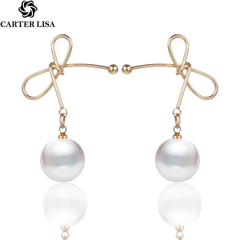 CARTER LISA Korea New Gold Color Bowknot Simulated Pearl Drop Earrings For Women 2019 New Elegant Simple Earrings Trendy