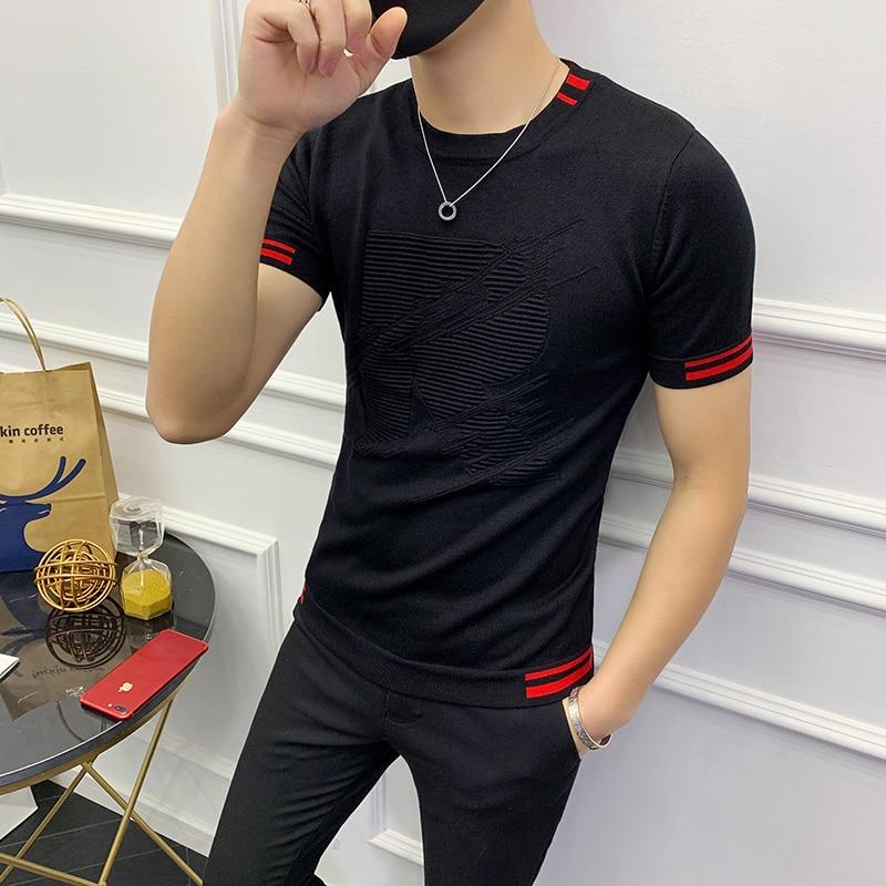 Autumn Short Sleeve Stripe Knitting Tshirt Tee Jacquard Weave High Quality Streetwear Round Sleeve T-shirt Camisetas Hombre