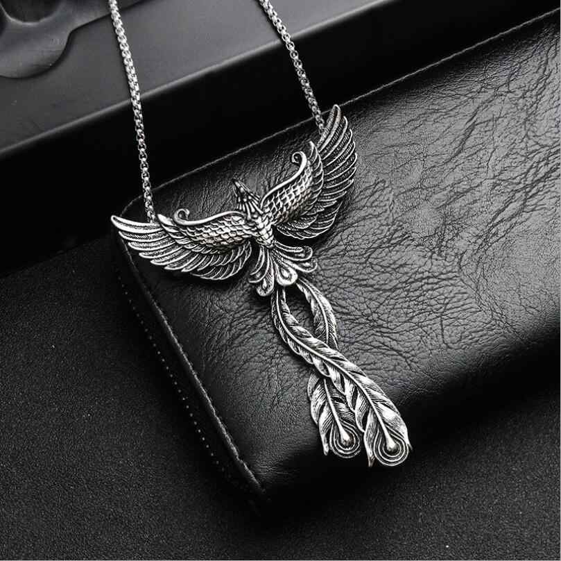 Domineering Personality Phoenix Pendant Gothic Vintage Pendant Necklace Punk Peacock Pendant Beautiful Halloween Christmas Gifts