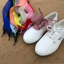 Lace Ribbon-Sneakers Shoestrings Sport-Shoes Satin Silk 13-Colors Women Fashion 1pair