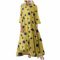 Vestido mujer vestidos M-5XL invierno 2019 vestido ropa mujer vestido de fiesta bata mujer talla grande Casual cuello redondo manga larga puntos z4