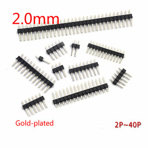 10PCS/Lot 2.0mm Male Header Pins 1*2/3/4/5/6/7/8/9/10/12/15/20/40P 2mm Single Row Pin Header Strip Connector Gold-plated copper