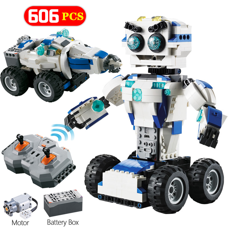 606Pcs RC Space Robot Transform 2 IN 1 Mode Building Blocks Legoingly Technic MOC Remote Control Car Bricks Sets Toys For Kids
