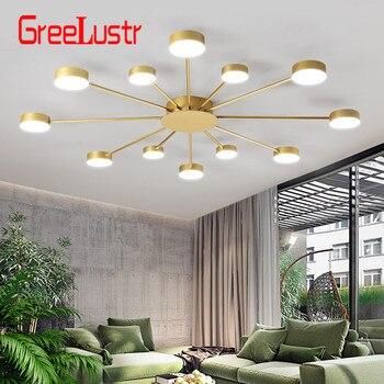 Moderno rotondo Nero/Oro HA CONDOTTO Le Luci del Soffitto apparecchi di Acrilico per lo studio camera da letto ristorante soggiorno lampade loft