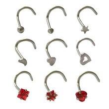CHUANCI 9 sztuk/partia śruba Prong nos szpilki nos pierścień Body Piercing biżuteria małe kolczyki dla kobiety dziewczyny nozdrza Piercing 20G