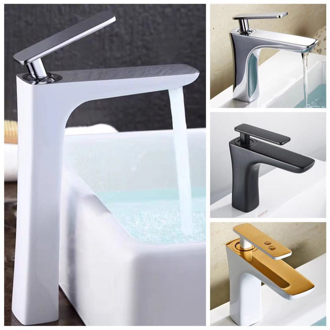 White Gold: War In Paradise Color Water Tap Modern On The Stage Basin Basin Foramina Singulare Hot And Cold Full Copper Roast