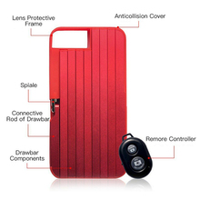 Multi-Functional Selfie Stick Mobile Phone Case with Remote Controller Foldable Cover Stand OUJ99