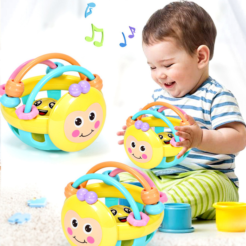 Kid Hand Bell Baby Toy Soft Rubber Cartoon Bebe Cartoon Bee Hand Knocking Rattle Dumbbell Early Educational Toy For Baby Gifts