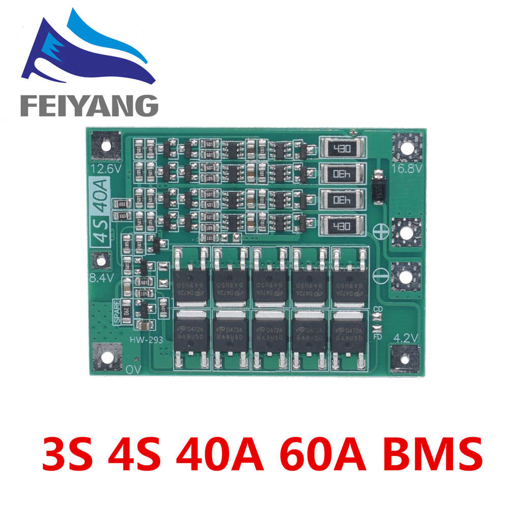 4S 40A ליתיום ליתיום סוללה 18650 מטען PCB BMS הגנת לוח עם איזון עבור תרגיל מנוע 14.8V 16.8V תא שאיבה מודול