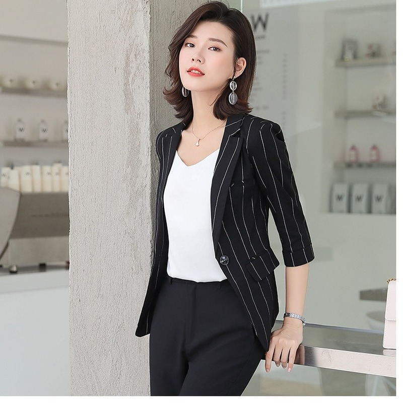 2020 new women's office blazer Spring and summer casual high quality short jacket feminine Interview small suit chiffon