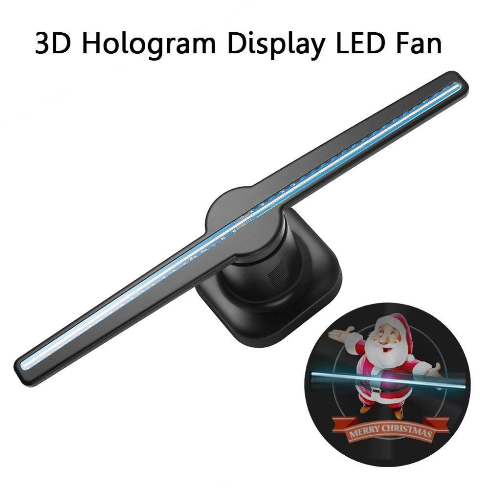 42cm 3D Hologram Projector Lamp 224pcs LED Holographic Advertisement Display Fan Light with 8GB Memory Card Advertising Lamp image