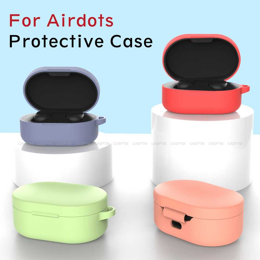 ソフト TPU ケース mi Airdots 赤 mi 空気ドットカラフルなシリコーンイヤホン保護ヘッドセット充電ボックスカバーシェルとフック