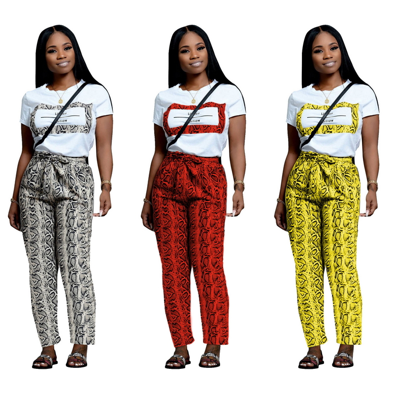 Serpentine Outfits For Women Short Sleeve Tee Letter Snake Skin Palazzo Pants Two Piece Set Sexy Casual Sweat Suit Loose Active