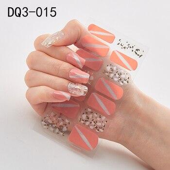 14pcs/sheet Glitter Gradient Color Nail Stickers Nail Wraps Full Cover Nail Polish Sticker DIY Self-Adhesive Nail Art Decoration 43