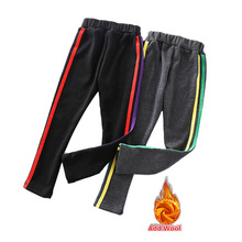Girl Leggings Pants Stripes Kids Cotton Princess with Autumn Winter Casual Slim-Fit Black