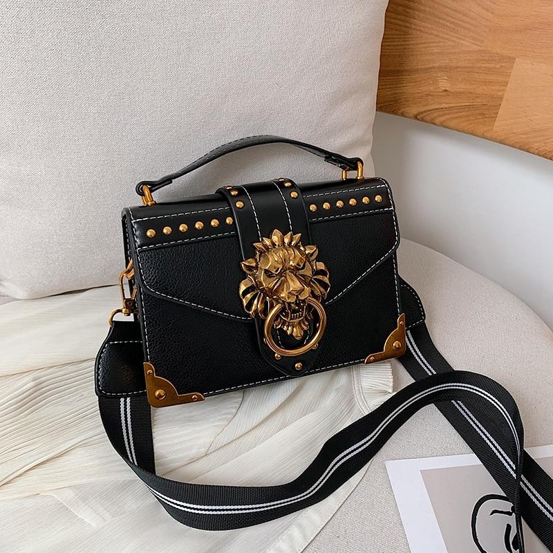 Female Fashion Handbags Popular Girls Crossbody Bags Totes Woman Metal Lion Head Brand Shoulder Purse Mini Square Messenger Bag