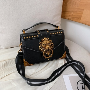 Female Fashion Handbags Popular Girls Crossbody Bags Totes Woman Metal Lion Head Brand Shoulder Purse Mini Square Messenger Bag(China)