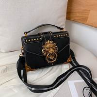 Female Fashion Handbags Popular Girls Crossbody Bags Totes Woman Metal Lion Head