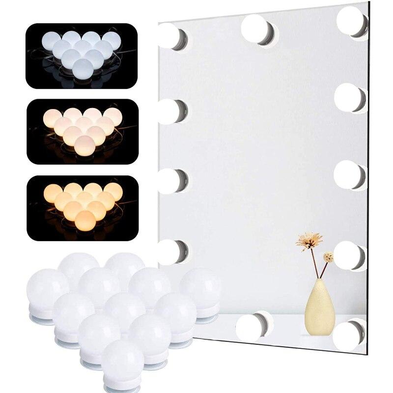 LED Makeup Mirror Light Bulbs Vanity Lights for Mirror USB 12V Hollywood Bathroom Dressing Table Lighting Dimmable LED Wall Lamp