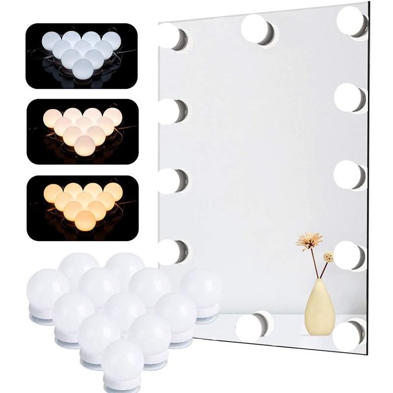 LED do makijażu światło lustrzane żarówki Vanity Lights do lustra USB 12V Hollywood łazienka toaletka oświetlenie ściemniania LED kinkiet