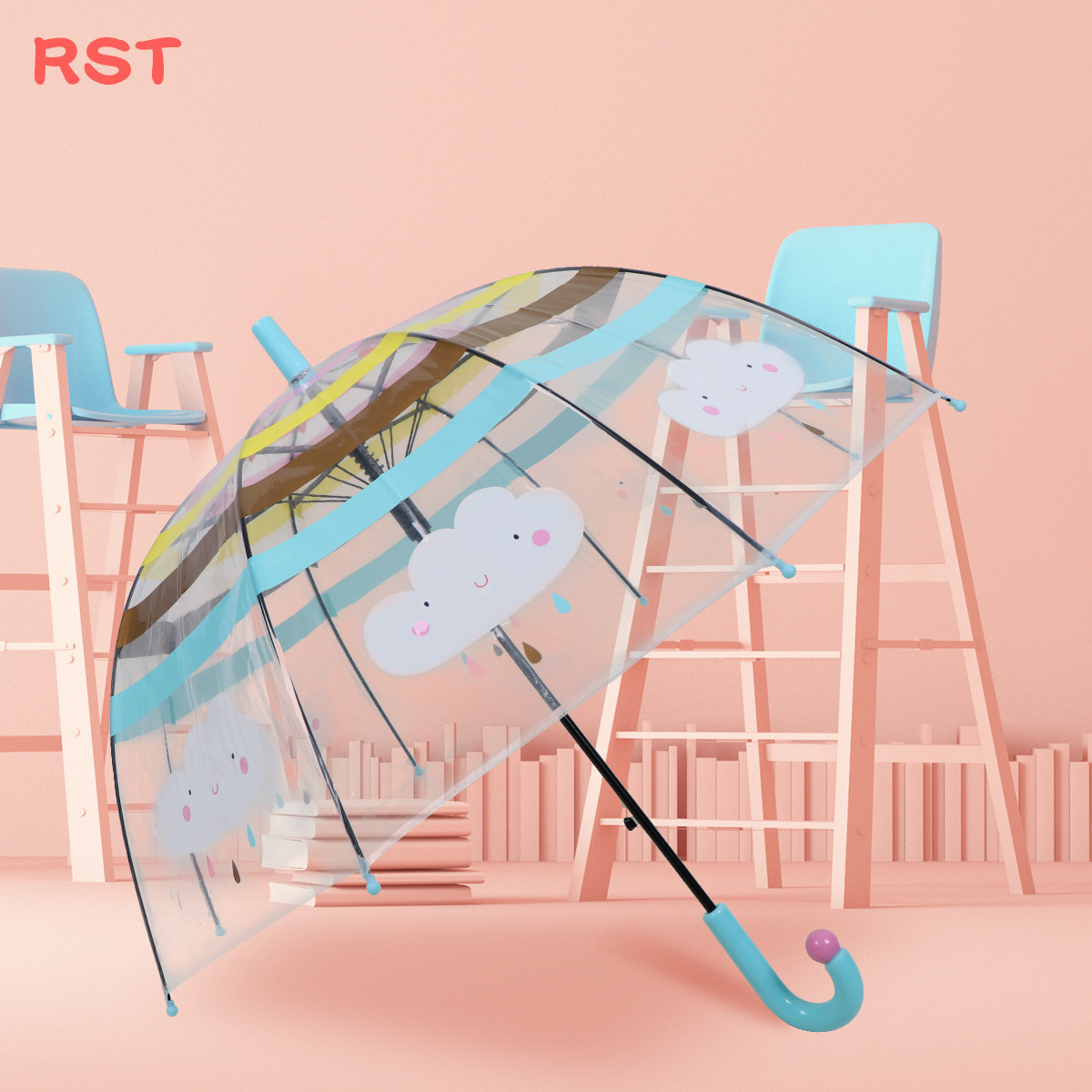RST Umbrella Foreign Trade Export Europe Cartoon Cute Rainbow Cloud Children Apollo Transparent Umbrella