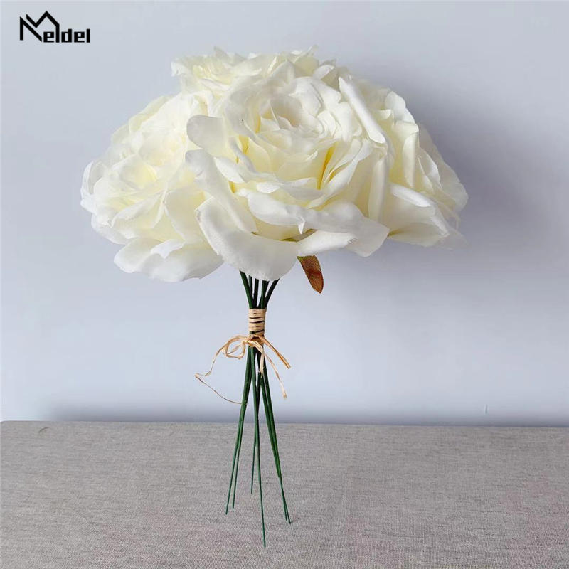 Meldel Wedding Bouquet Artificial Flower Champagne Rose Peony Bridal Bouquet DIY Home Party Wedding Decoration Wedding Supplies