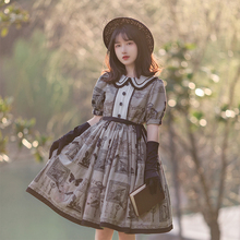 Gothic vintage sweet lolita dress peter pan collar puff sleeve lace bowknot printing kawaii dress girl loli cos gothic lolita op sweet custom tailored rococo lolita dress classic vintage floral printed short sleeve midi dress with lace ruffles by miss point