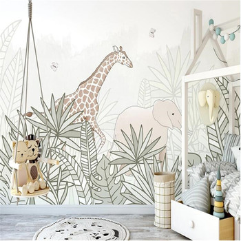 Milofi professional 3D large wallpaper mural hand-painted Nordic forest small animal illustration children background wall недорого