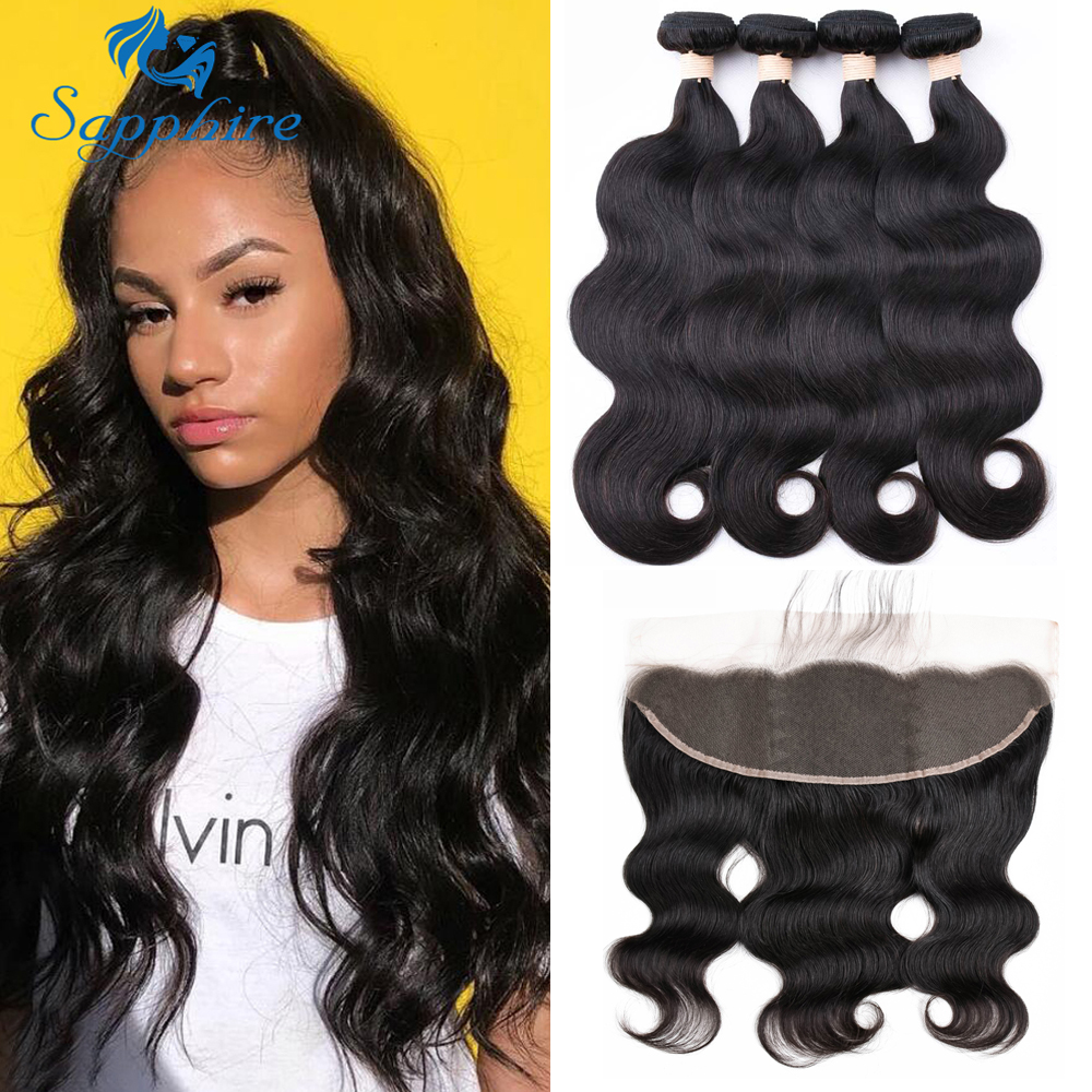 Sapphire Body Wave Bundles With Frontal Brazilian Human Hair Weave Bundles With Closure Remy Hair Lace Frontal With Bundles