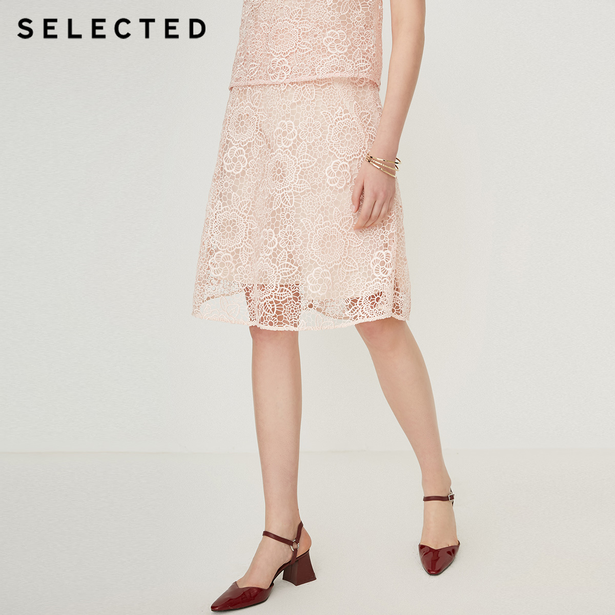 SELECTED Women's Mid-length Cut-out Lace Skirt SIG|41924C510