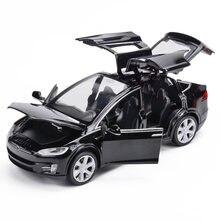 1/32 tesla modelo x90 liga diecasts carro modelo s veículos carro puxar para trás 6 portas abertas brinquedos para crianças presente