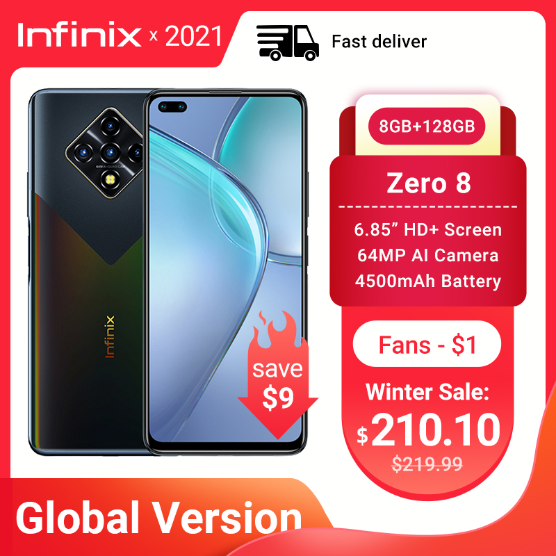 Глобальная версия Infinix Zero 8 8 ГБ 128 Гб Смартфон 6,85 ''FHD 90 Гц полный экран 64-мегапиксельная четырехъядерная камера 4500 мАч батарея зарядное устрой...