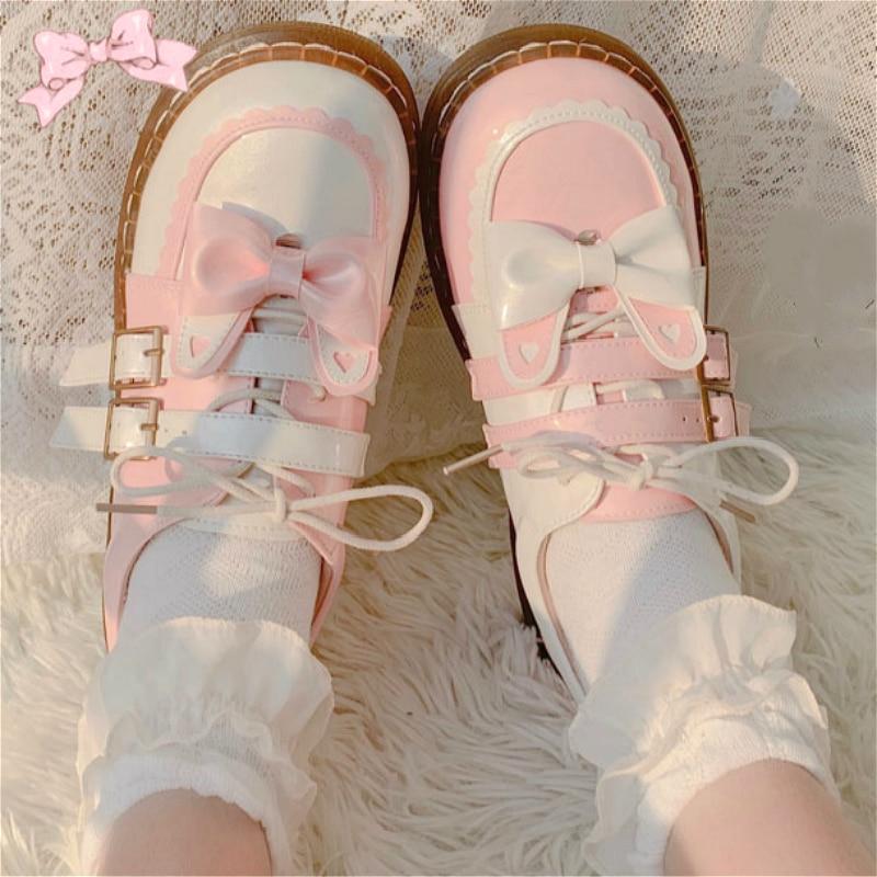 Zapatos Harujuku Kawaii Girl Sweet Lolita, zapatos Vintage de fiesta con cabeza redonda, zapatos de vestir para mujeres, bonitos zapatos de retales con lazo, zapatos Kawaii Loli Cos Marca DEKABR, mocasines suaves de estilo veraniego a la moda para hombres, zapatos de piel auténtica de alta calidad, zapatos planos para hombres, zapatos de conducción Gommino