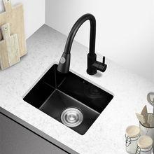 Preto pia da cozinha 304 de aço inoxidável único intestino pias cozinha vegetal bacia lavagem preto nano pia udermount at890