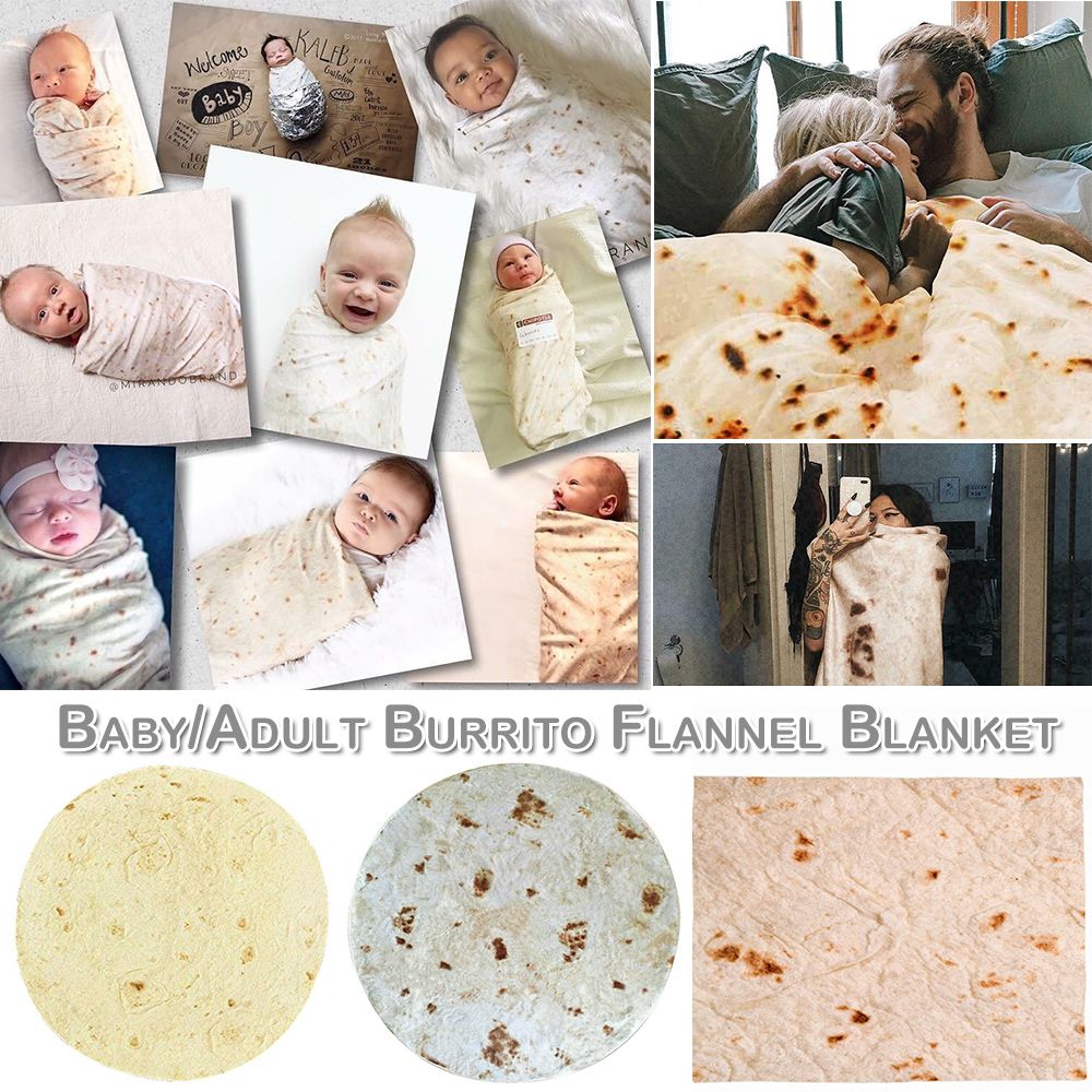 Burritos Wrap Throw Blanket for Kid Perfectly Comfort Round Tortilla Home Decoration Wearable Mat Warm Soft Burritos TortillaD30