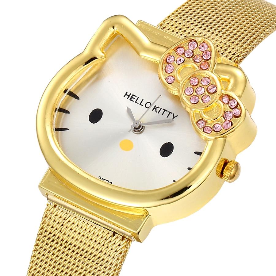 Cat Quartz Hello Kitty Watch Women Luxury Fashion Lady Girl 2018 New Silver Mesh Steel Band Cute Wristwatch Crystal Hour Gold